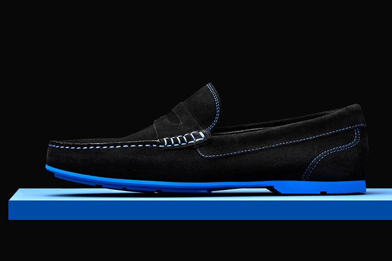 Mens Black & Blue Suede Driving Loafers