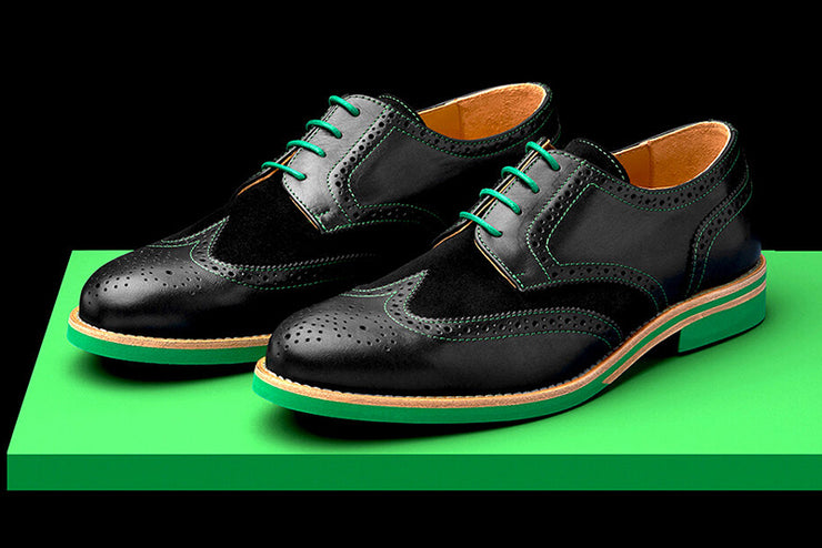 Mens Black & Green Leather Wingtip Dress Shoes