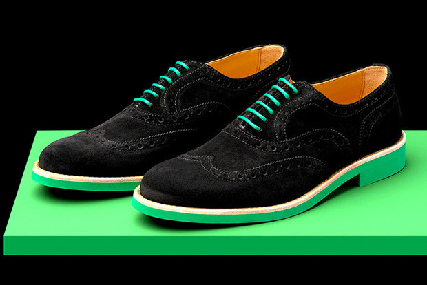 Mens Black & Green Suede Wingtip Dress Shoes