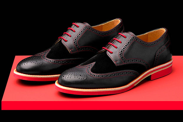 b257fadc18b8a Mens Black & Red Leather Wingtip Dress Shoes