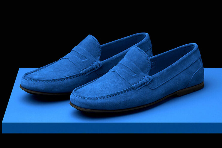 Mens Blue Suede Driving Loafers   Soxy