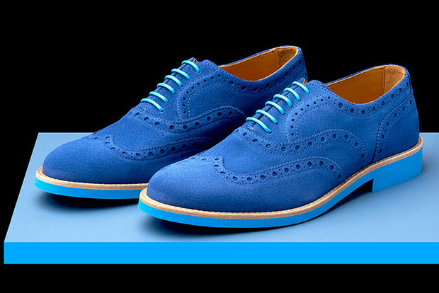 Mens Blue Suede Wingtip Dress Shoes