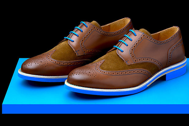 Mens Brown & Blue Leather Wingtip Dress Shoes - Size 10