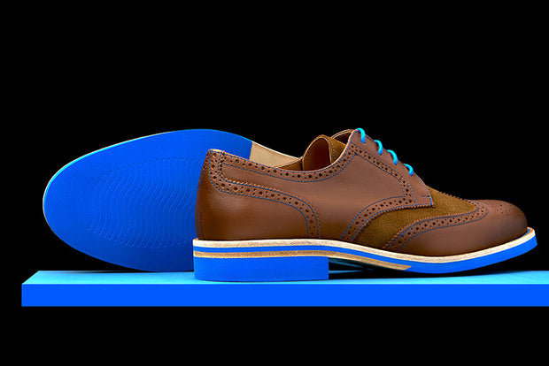 Mens Brown & Blue Leather Wingtip Dress Shoes