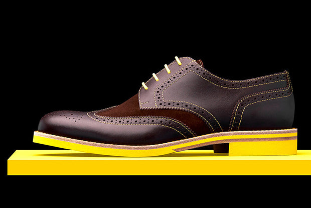 Mens Brown & Yellow Leather Wingtip Dress Shoes - Size 12