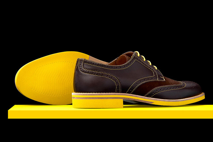Mens Brown & Yellow Leather Wingtip Dress Shoes