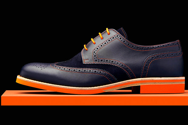 Mens Navy & Orange Leather Wingtip Dress Shoes - Size 12