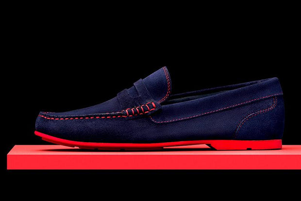 Mens Navy Blue & Red Suede Driving Loafers- Size 12