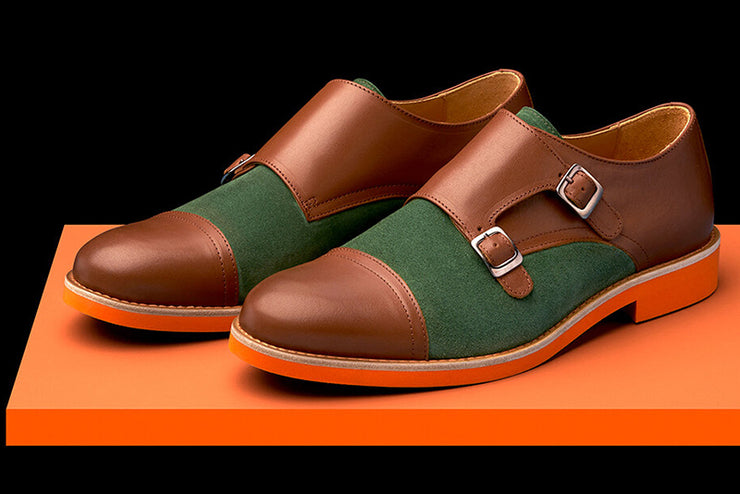 Mens Brown & Green Leather Double Monk Strap Dress Shoes