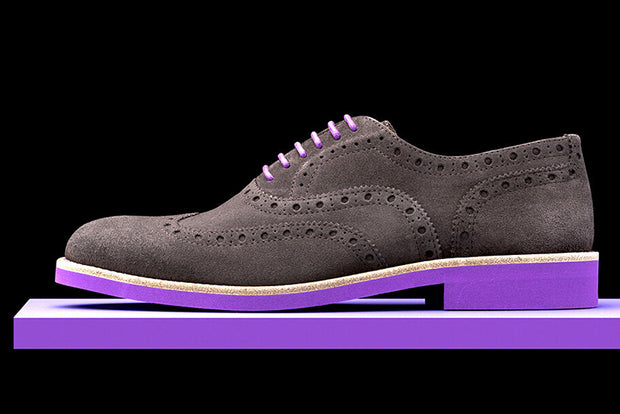 Mens Grey & Purple Suede Wingtip Dress Shoes