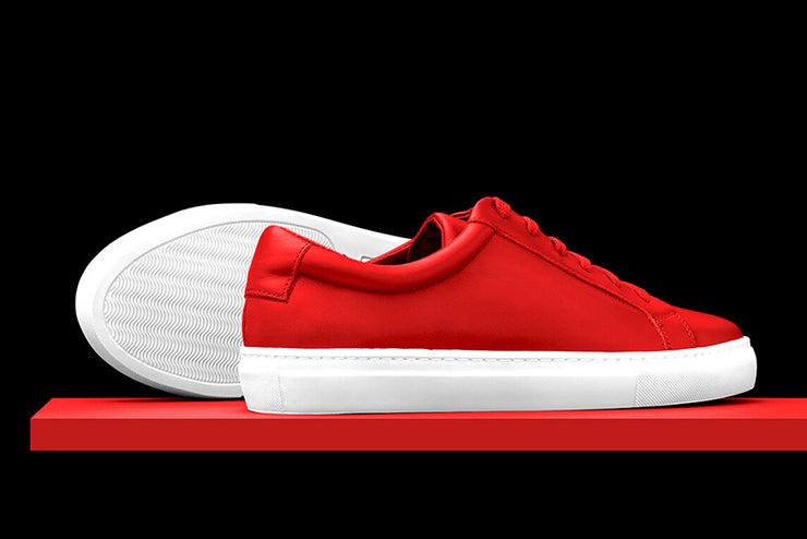 Mens Red Leather Sneakers