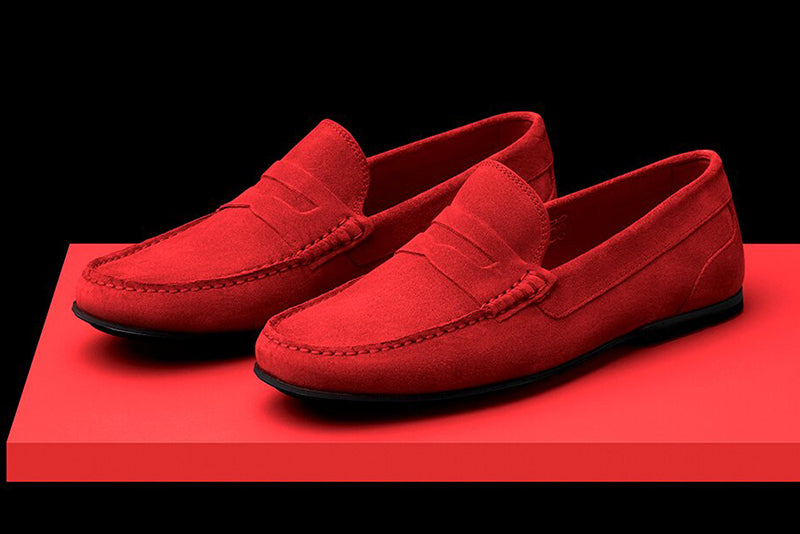 Mens Red Suede Driving Loafers | Soxy