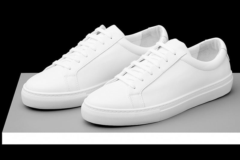 Mens White Leather Sneakers | Soxy