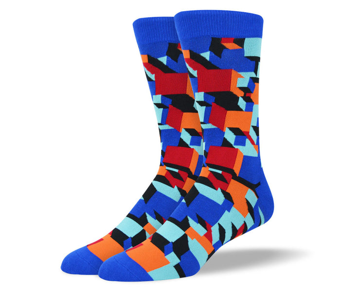 Men's Blue Crazy 3D Socks