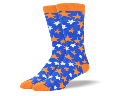 Men's Blue Dress Socks Orange Stars