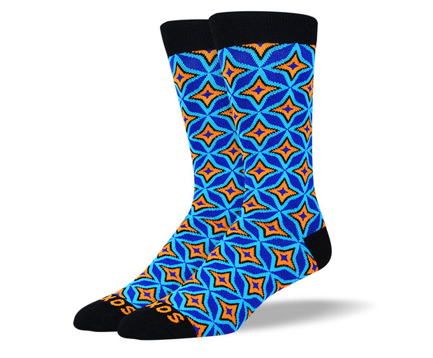 Men's Blue Funky Pattern Socks