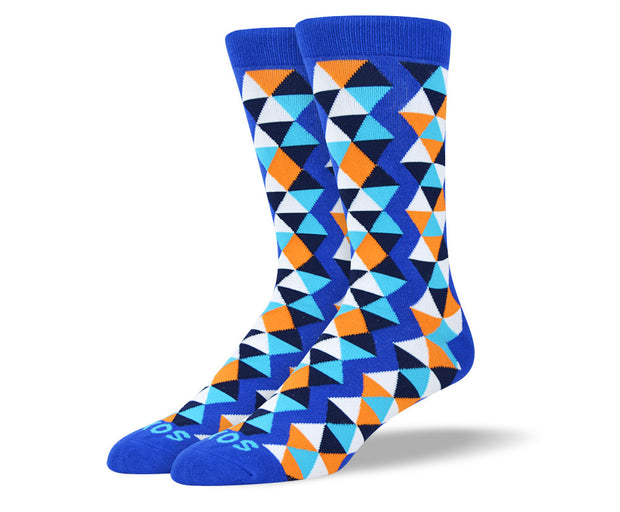 Men's Blue Funky Socks Triangle