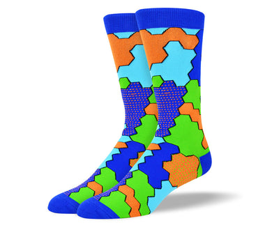 Men's Blue Jigsaw Socks for Autism