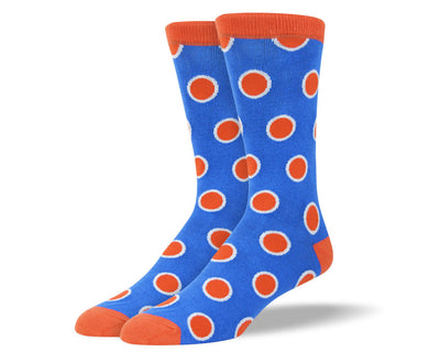 Men's Blue Socks with Orange Dots