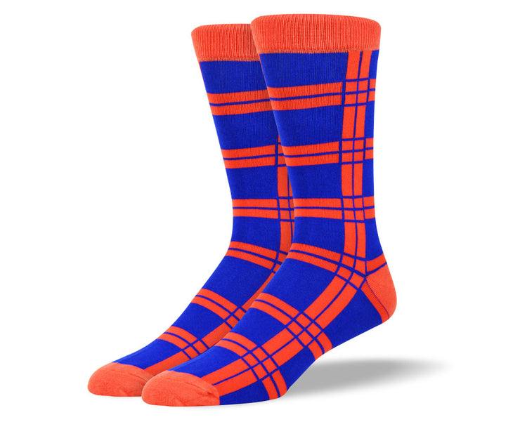 Men's Blue and Orange Squares Socks