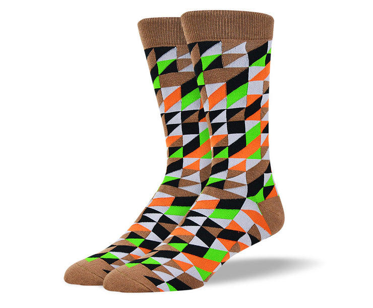 Men's Brown Crazy Novelty Pattern Socks