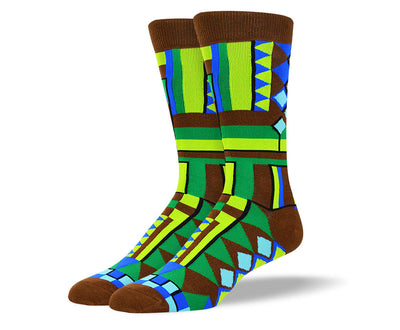 Men's Brown Fun Pattern Socks