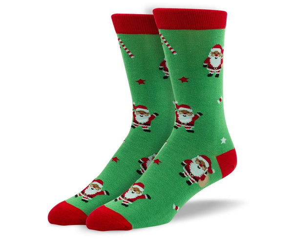 Men's Christmas Green Santa Claus Socks