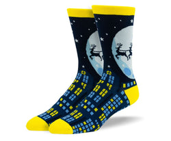 Men's Christmas Flying Reindeer Socks