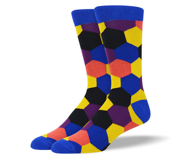 Men's Colorful Hexagon Pattern Socks