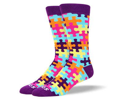 Men's Colorful Purple Puzzle Autism Socks