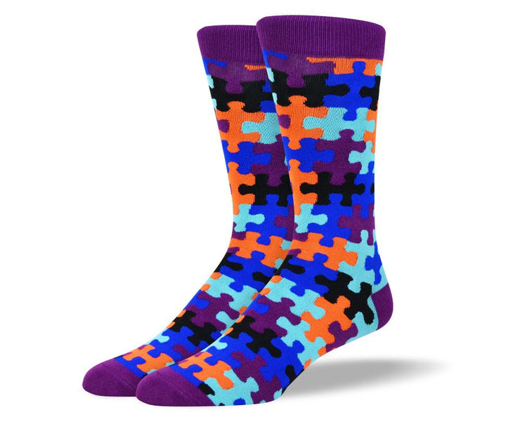 Men's Unique Crazy Purple Puzzle Socks