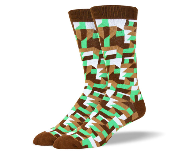 Men's Crazy Brown Dress Socks