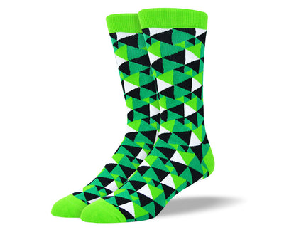 Men's Crazy Green Triangle Socks