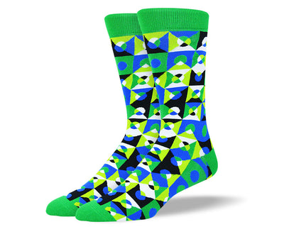 Men's Green Crazy Shape Socks