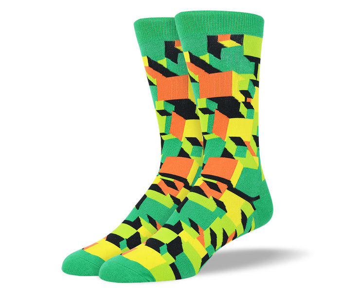 Men's Green Crazy 3D Socks
