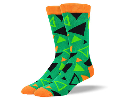 Men's Green Triangle Pattern Socks
