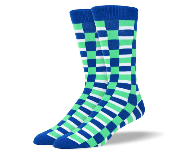 Men's Green and Blue Square Dress Socks