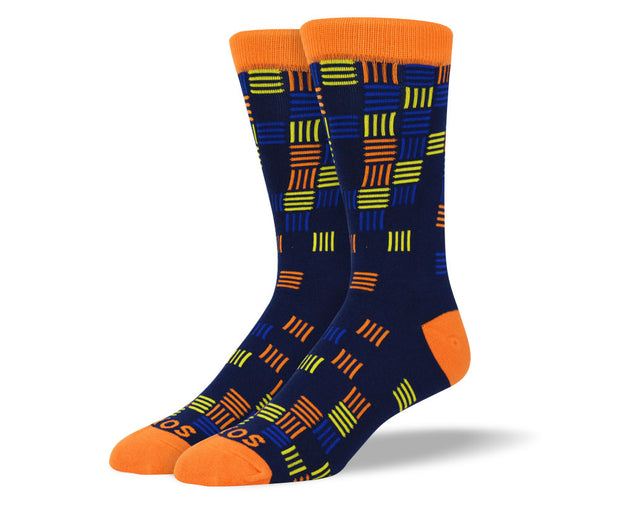 Men's Navy Socks Colorful Stripes
