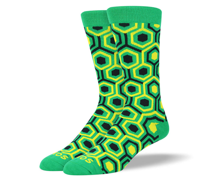 Men's Novelty Green Pattern Socks