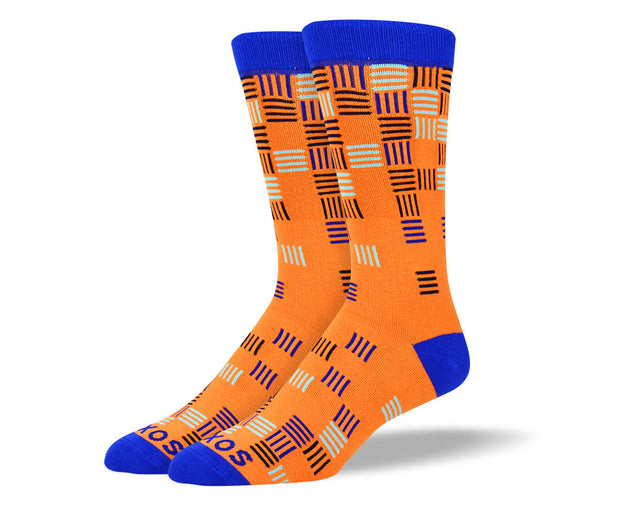 Men's Orange Funky Lines Socks