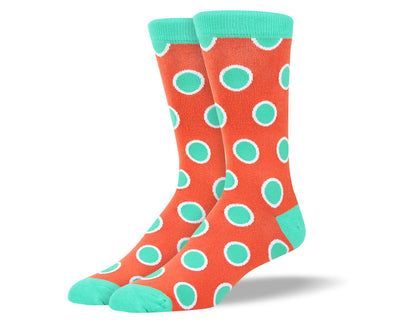 Men's Orange and Teal Dots Socks