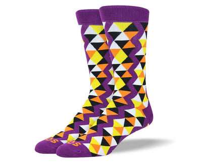 Men's Colorful Purple Funky Socks Triangle