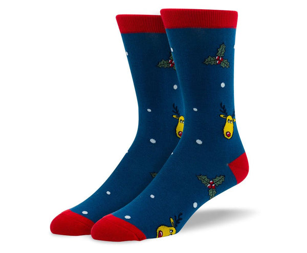 Men's Christmas Blue Reindeer Socks