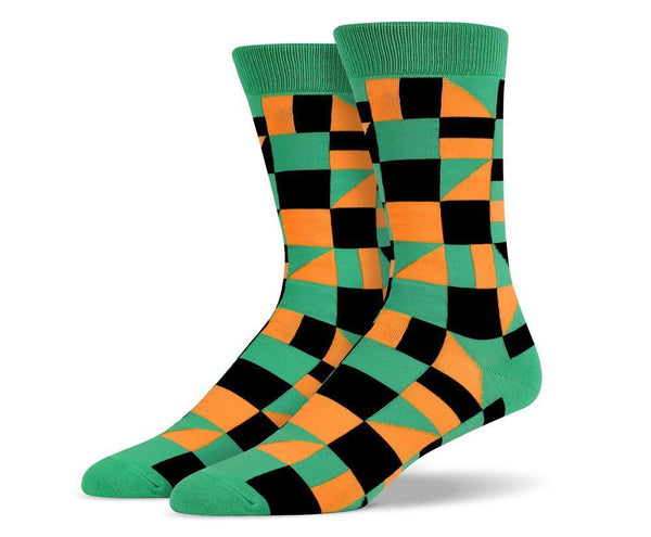 Mens Green Multi Shape Socks