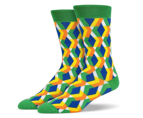Mens Green 3D Diamond Socks