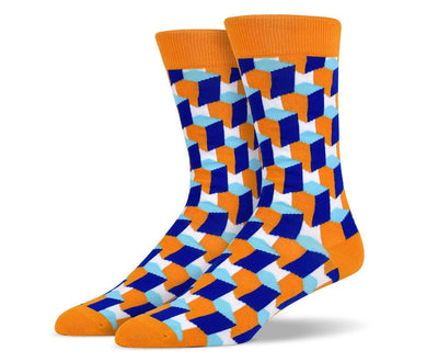 Mens Vertical 3D Cube Socks