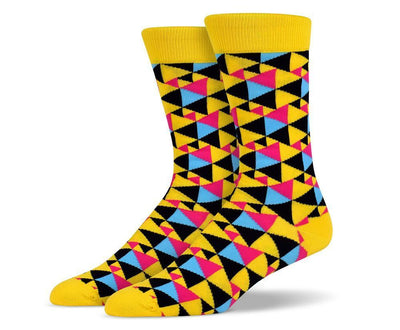 Mens Yellow Assorted Triangle Socks