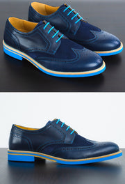 Mens Blue Leather Wingtip Dress Shoes
