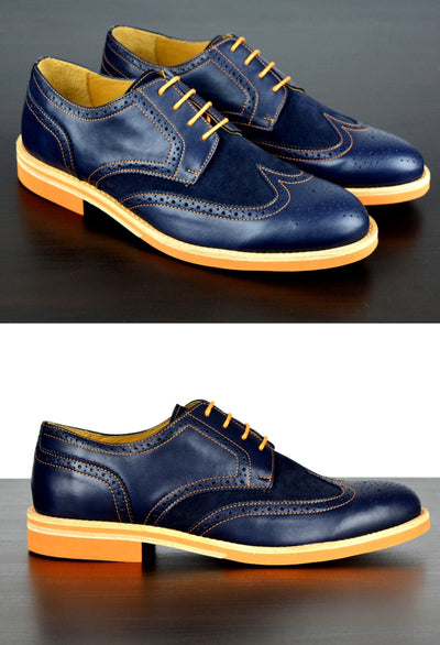 Mens Navy & Orange Leather Wingtip Dress Shoes