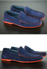 Mens Navy Blue & Red Suede Driving Loafers